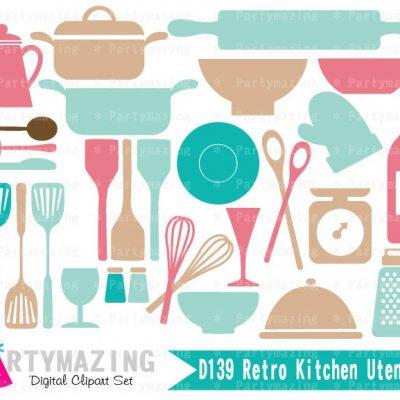 Retro Kitchen Utensils Clip Art Graphic Set   E322