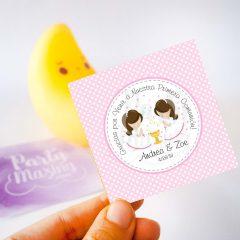 Spanish Editable Etiqueta Primera Comunion Dos Niñas | Twins Thank You Stickers Labels | Party Favor Tag | stickers COM1 | E182
