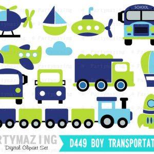Transportation Clipart for Boys Blue and Green Digital Clip Art Graphic Set | E379
