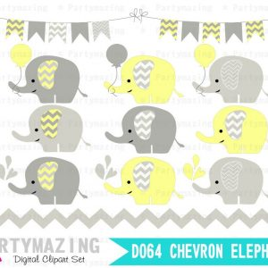 Yellow Baby Elephant Clipart Set including Digital Paper Pack | E320