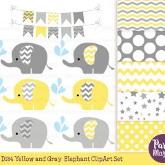 Yellow Elephant Sprinkle Water Baby Shower Clipart Set | E368