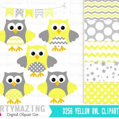 Yellow Owl Baby Shower or Nursery Clipart Set including Matching Paper Pack | E365