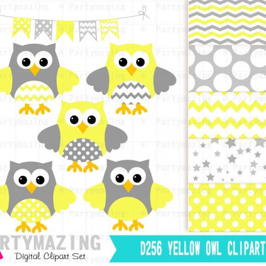 Yellow Owl Baby Shower or Nursery Clipart Set including Matching Paper Pack   E365