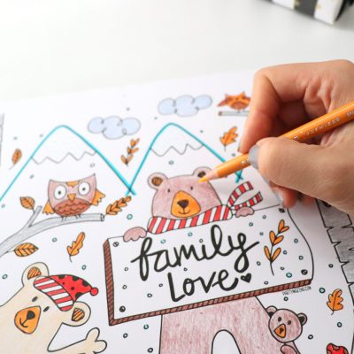 """""""Family Love"""" Hand-Drawn Woodland Coloring Page F022"""