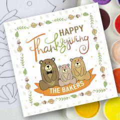 Hand-Drawn Bear Family Printable Thanksgiving Gift Tag | E220