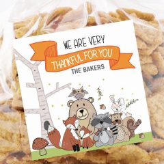 Hand-Drawn Forest Animals Printable Thanksgiving Gift Tag Label | E222