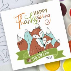 Hand-Drawn Fox Mommy and Me Printable Happy Thanksgiving Gift Tag Label   E253
