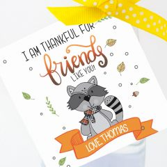 Hand-Drawn I am Thankful for Friends like You Printable Gift Tag Label | E270