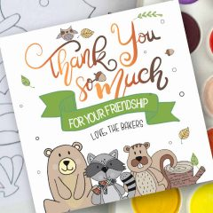 Hand-Drawn Forest Animals Printable Thanksgiving Tag Label | E323