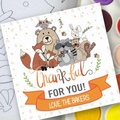 Hand-Drawn Forest Animals Printable Thanksgiving Tag Label | E386