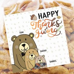 Hand-Drawn Bear Family Printable Thanksgiving Gift Tag or Sticker Label| E397