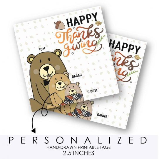 Bear Family Printable Thanksgiving Gift Tag or Sticker Label, Hand-Drawn Personalized Family Name Forest Woodland Collection | E397