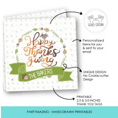 Hand-Drawn Personalized Happy Thanksgiving Printable Tag Label   E395