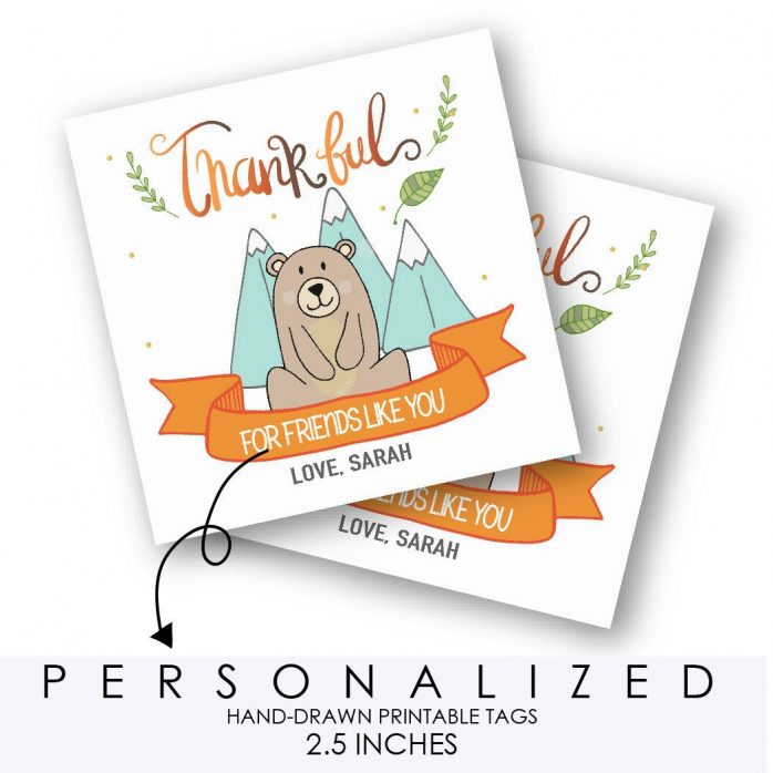 Hand-Drawn Little Bear Thanksgiving Tag, Thankful for Friends Like You Printable Tag, Personalized Forest Woodland Collection   E350