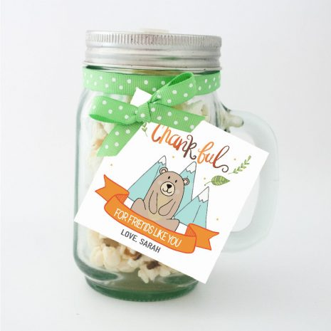 Hand-Drawn Little Bear Thanksgiving Tag, Thankful for Friends Like You Printable Tag, Personalized Forest Woodland Collection | E350