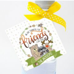 Woodland Animals Printable Personalized Thanksgiving Tag Label, Hand-Drawn Customized Family Thanksgiving Gift Tag | E317