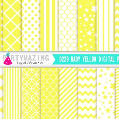 Baby Yellow Basic Digital Paper Pack  E242