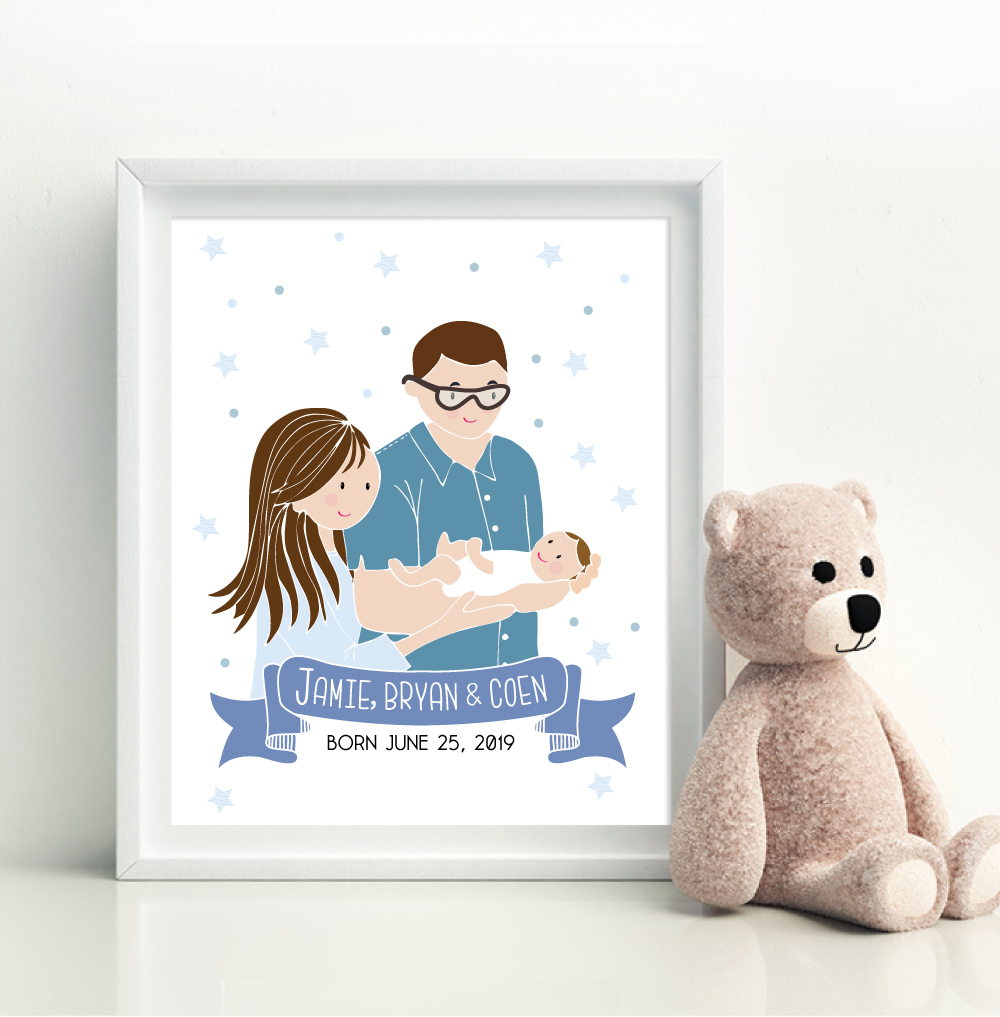 Do you have a new family member at home? Time to celebrate your family with your own personalized family illustration portrait.