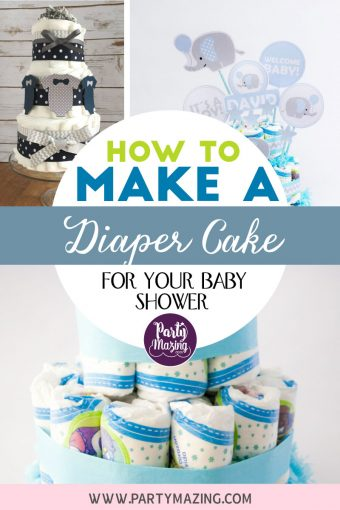 How to Make a Diaper Cake – Baby Blue Elephant Diaper Cake