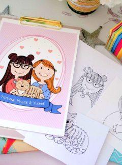 Custom Couple Portrait Illustration Gift, Hand-drawn Family with Pets Illustration | Cartoon Style | E402