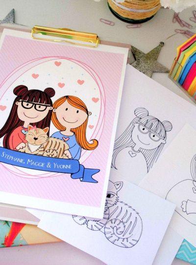 Custom Hand-drawn Family Portrait Illustration| E402