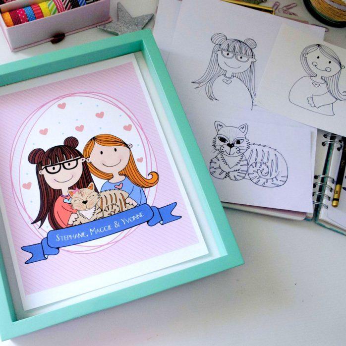 Custom Couple Portrait Illustration Gift, Cute Custom hand-drawn Family with Pets,  Couple Illustration Portrait Cartoon Style | E402
