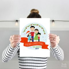 Custom Family Portrait, Christmas Hand-Drawn Family Portrait Illustration Art Print Cartoon Style E399