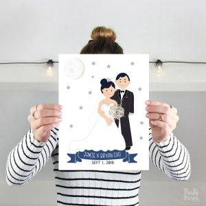 Custom Family Portrait illustration,  Custom Printable Hand-Drawn Wedding Family Portrait Illustration Art Print Cartoon Style   E370