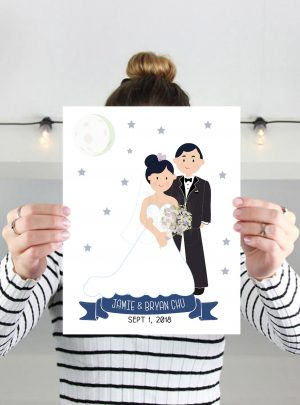 Custom Wedding Hand-Drawn Portrait illustration | E370