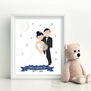 Custom Family Portrait illustration,  Custom Printable Hand-Drawn Wedding Family Portrait Illustration Art Print Cartoon Style | E370