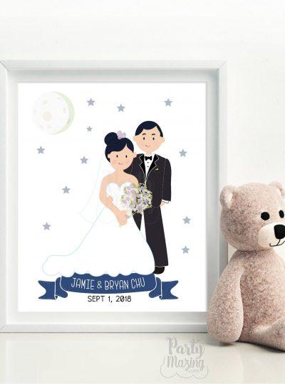 Custom Wedding Hand-Drawn Portrait illustration | E370