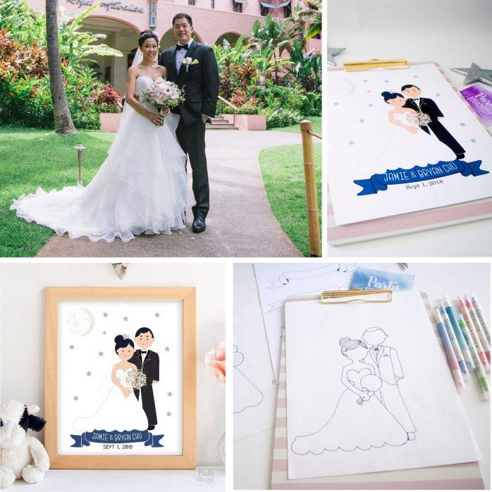 Custom Family Portrait illustration,  Custom Printable Hand-Drawn Wedding Family Portrait Illustration Art Print Cartoon Style | E370