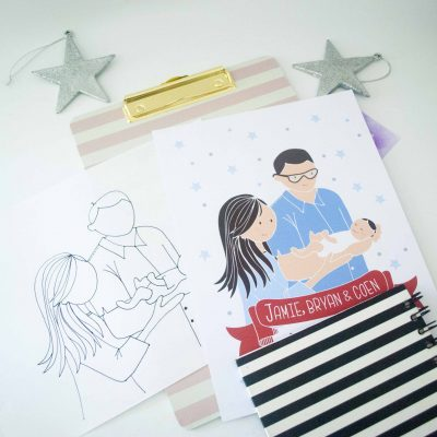 Custom Family Portrait illustration, Hand-Drawn New Born Cartoon Family Portrait Illustration Art Print Cartoon Style | E369