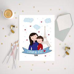 Custom Mom and Son Family Portrait, Hand-Drawn Illustration Art Print Cartoon Style | E240