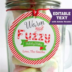 Editable Warm and Fuzzy Holiday Wishes Christmas Gift Tag | E310