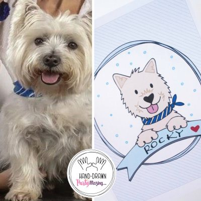 Hand Drawn Custom Pet Portait | Family Portrait | Dog or Cat |Cartoon Style | E196