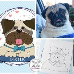 Hand Drawn Custom Pet Portrait, Hand-Drawn Pug or Any Pet Family Cartoon Style Illustration Portrait | E248