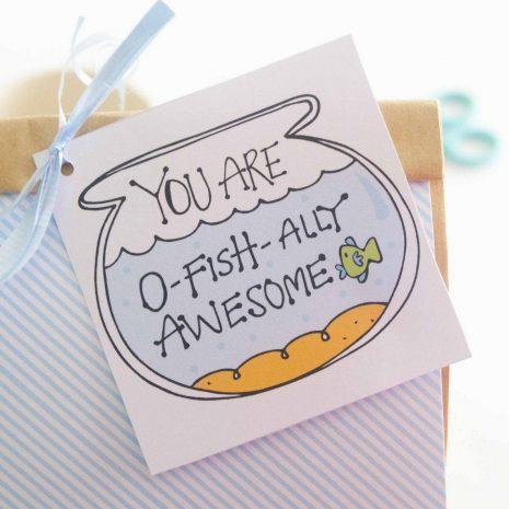 Hand-Drawn Printable You are O-Fishally Awesome Gift Tag | E256