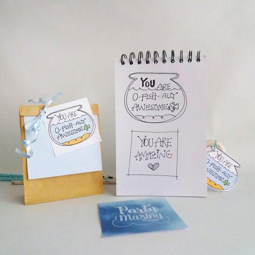 Hand-Drawn Printable You are O-Fishally Awesome Gift Tag   E256