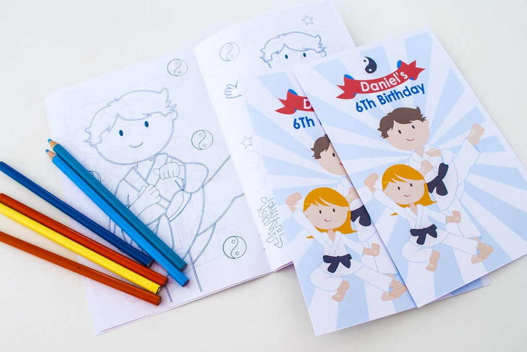 Karate Birthday Party Coloring Books, Martial Arts Coloring Books | Birthday Party Favor | E261