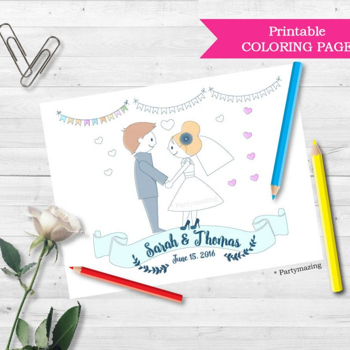 Personalized Printable Wedding Coloring Page with Bride and Groom Couple, Wedding Activity Page for kids   E233
