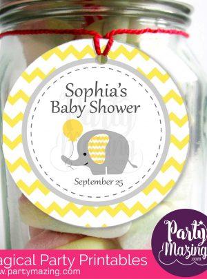 Yellow Elephant Printable Baby Shower Favor Tags   E183