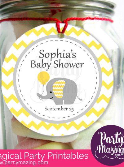Yellow Elephant Printable Baby Shower Favor Tags | E183