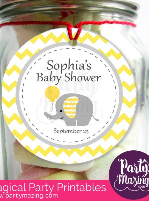Printable Elephant Stickers, Yellow Baby Shower Labels | Elephant Gift Tags | Elephant Baby Shower Decorations | E183