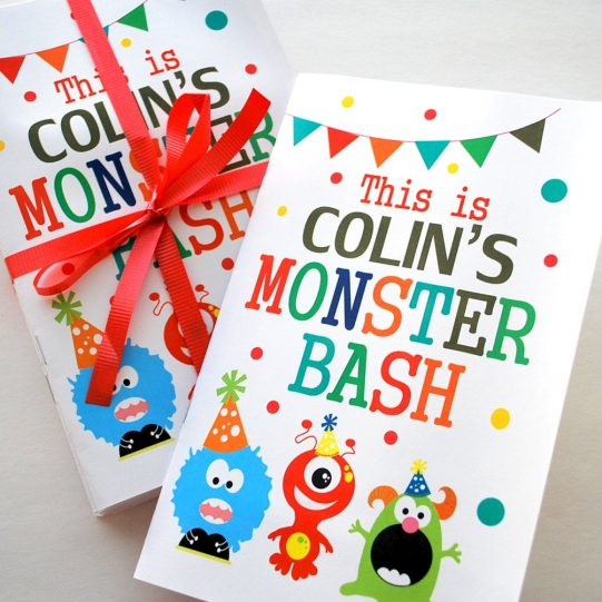 Printable Monster Coloring Books,  Cute Monster Birthday Coloring books, Monster Bash Personalized Coloring Books Party Favors | E260