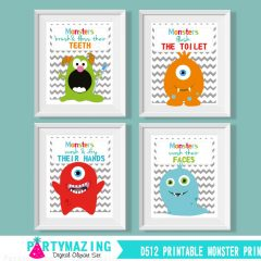 Printable Monster Kids Bathroom Rules Art Signs for your Kid's Bathroom | E041