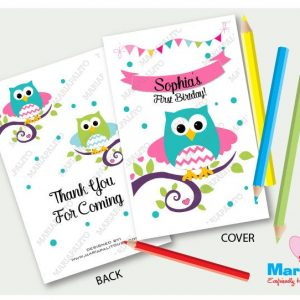 Printable Owl Coloring Books, First Birthday Party , Personalized Party Favors, Forest Owl Coloring Book | E405