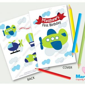 Printable Plane Coloring Books, Planes Birthday Party, Personalized Coloring Books Party Favors   A408