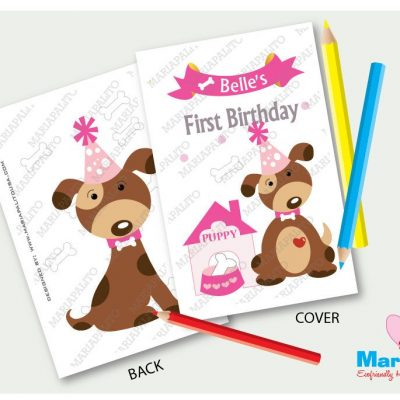 Printable Puppy Coloring Books, Party Favor Coloring Books, Happy Birthday Personalized Coloring Books Party Favors   E406