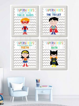 Superhero Bathroom Rules Girl & Boy Printable Wall Art Set of 4 | E372